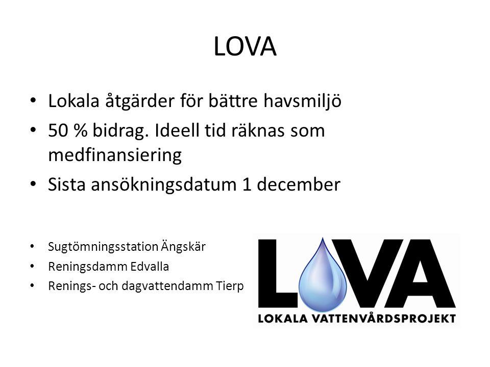 LOVA Lokala åtgärder för bättre havsmiljö 50 % bidrag.