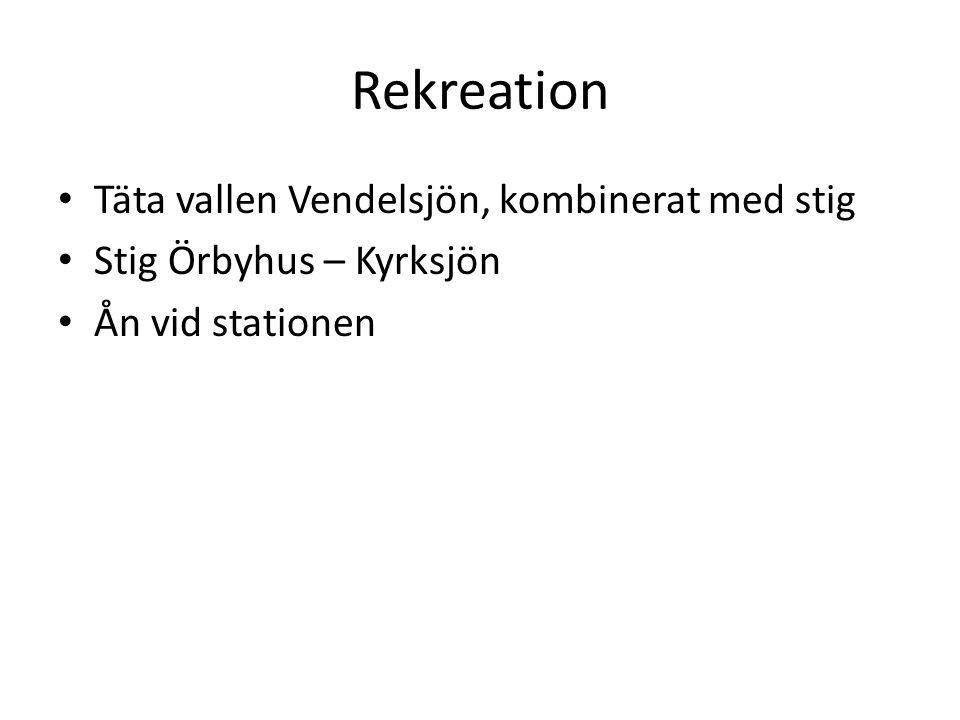 Rekreation Täta vallen Vendelsjön, kombinerat med stig Stig Örbyhus – Kyrksjön Ån vid stationen