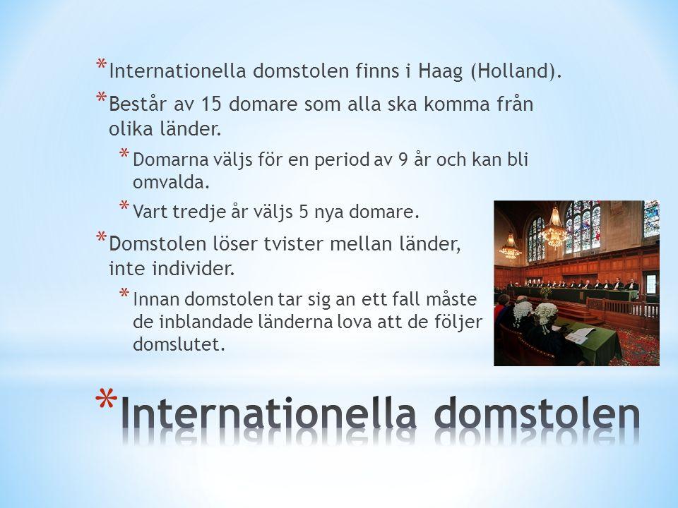 * Internationella domstolen finns i Haag (Holland).