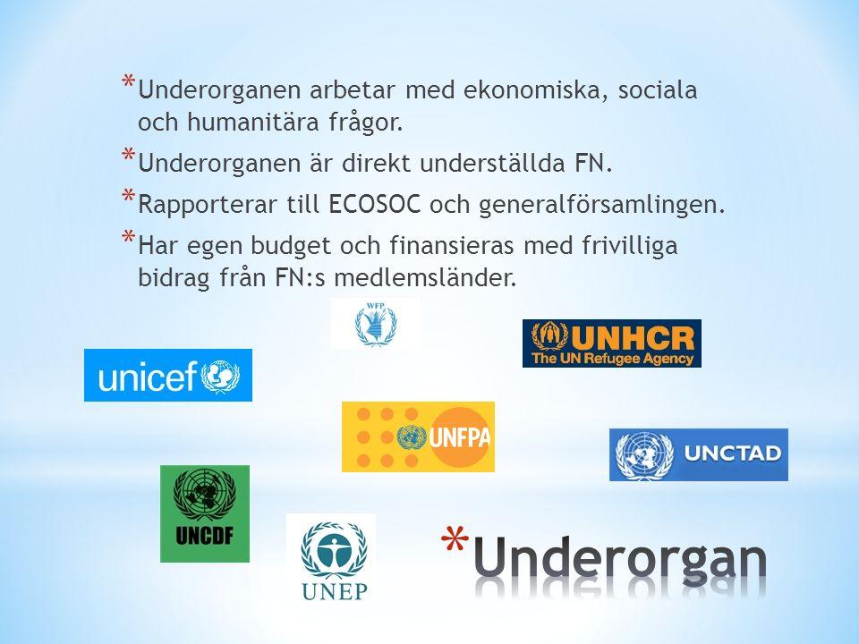 * Underorganen arbetar med ekonomiska, sociala och humanitära frågor.