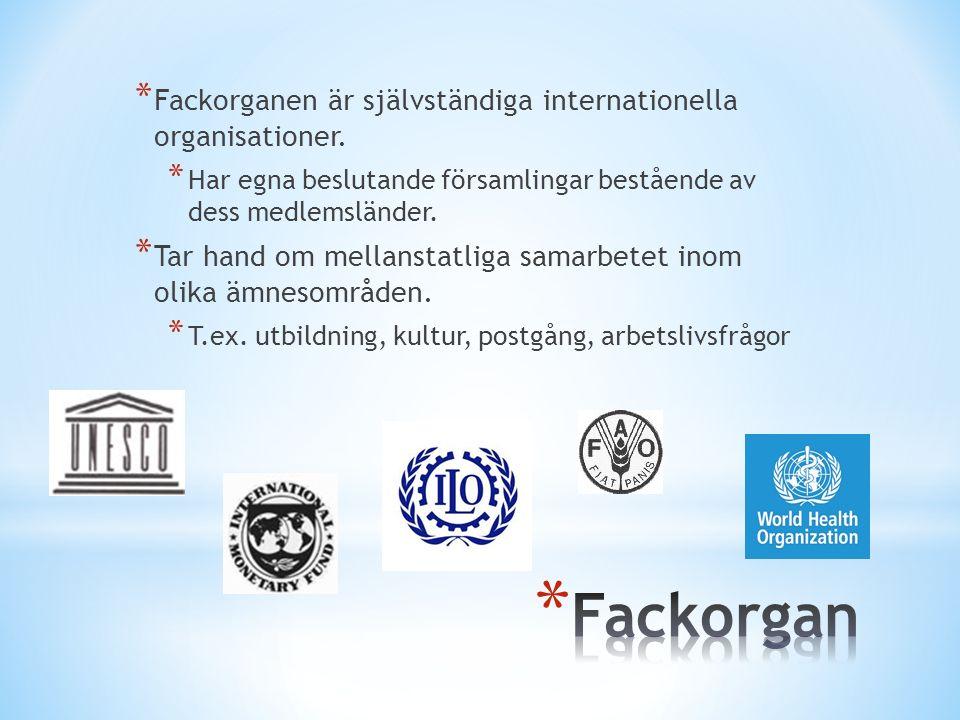 * Fackorganen är självständiga internationella organisationer.