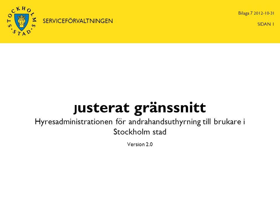 J usterat gränssnitt Hyresadministrationen för andrahandsuthyrning till brukare i Stockholm stad Version 2.0 Bilaga 7 2012-10-31 SERVICEFÖRVALTNINGEN SIDAN 1