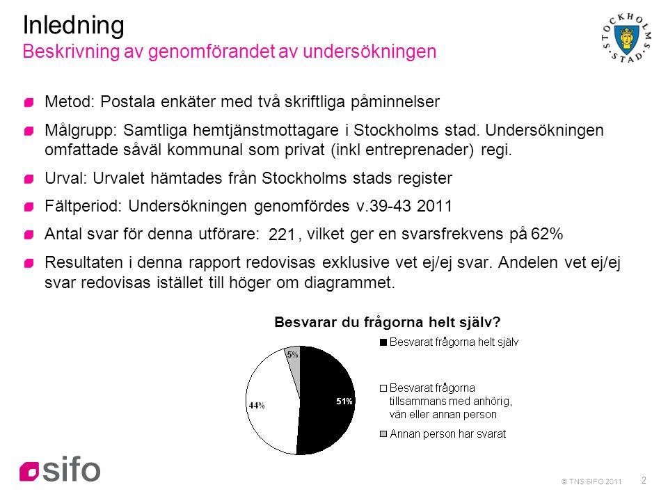 2 Inledning Beskrivning av genomförandet av undersökningen Metod: Postala enkäter med två skriftliga påminnelser Målgrupp: Samtliga hemtjänstmottagare i Stockholms stad.