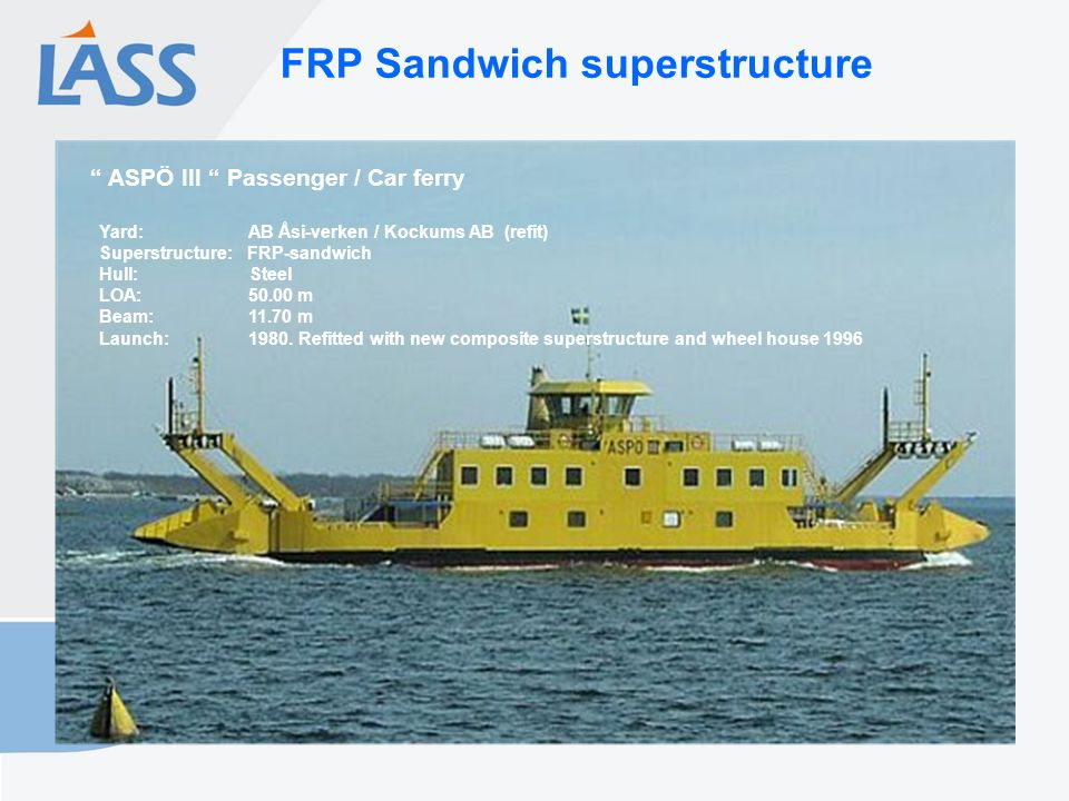 FRP Sandwich superstructure Yard: AB Åsi-verken / Kockums AB (refit) Superstructure: FRP-sandwich Hull: Steel LOA: 50.00 m Beam: 11.70 m Launch: 1980.