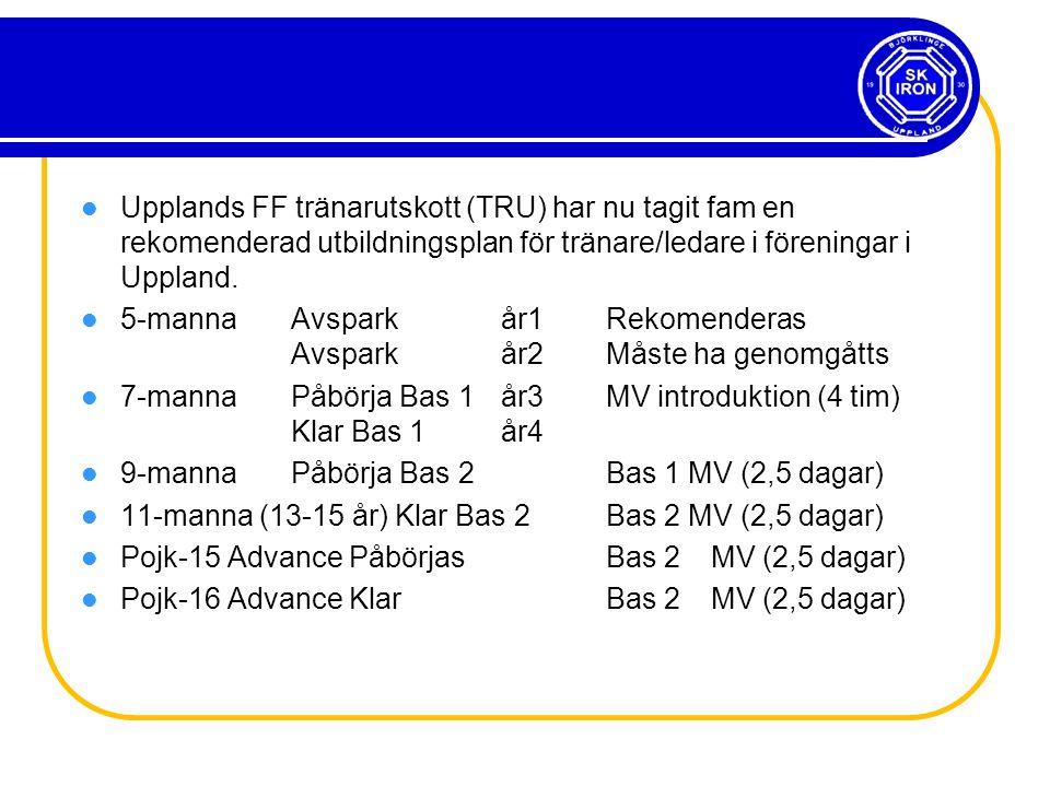 Upplands FF tränarutskott (TRU) har nu tagit fam en rekomenderad utbildningsplan för tränare/ledare i föreningar i Uppland.