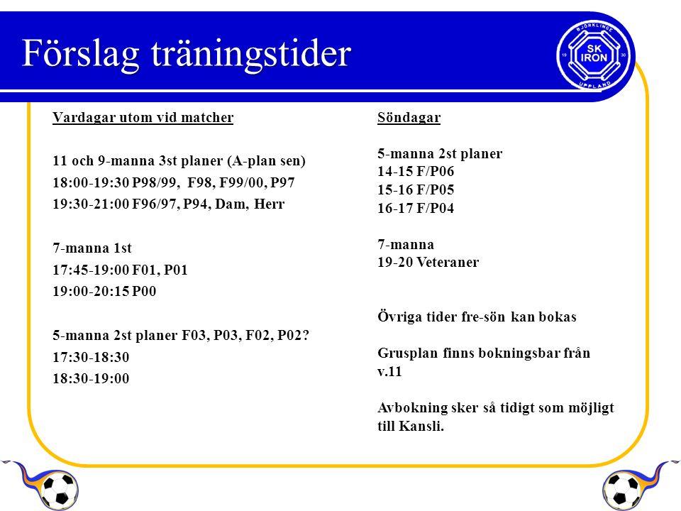 Förslag träningstider Vardagar utom vid matcher 11 och 9-manna 3st planer (A-plan sen) 18:00-19:30 P98/99, F98, F99/00, P97 19:30-21:00 F96/97, P94, Dam, Herr 7-manna 1st 17:45-19:00 F01, P01 19:00-20:15 P00 5-manna 2st planer F03, P03, F02, P02.