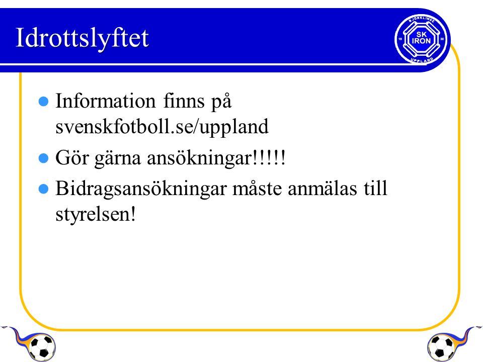 Idrottslyftet Information finns på svenskfotboll.se/uppland Gör gärna ansökningar!!!!.