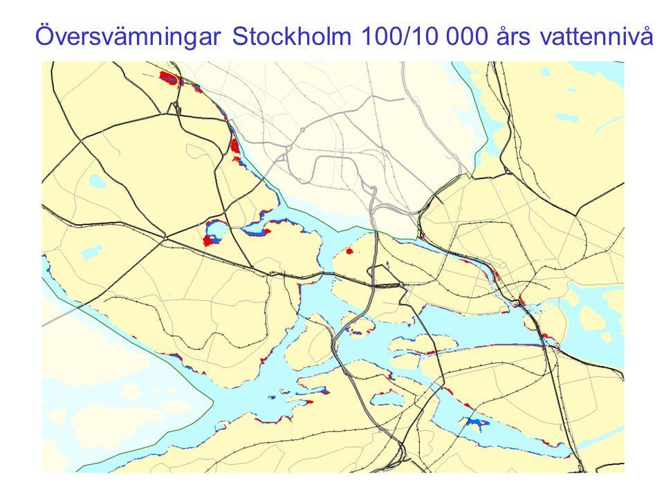 Översvämningar Stockholm 100/10 000 års vattennivå