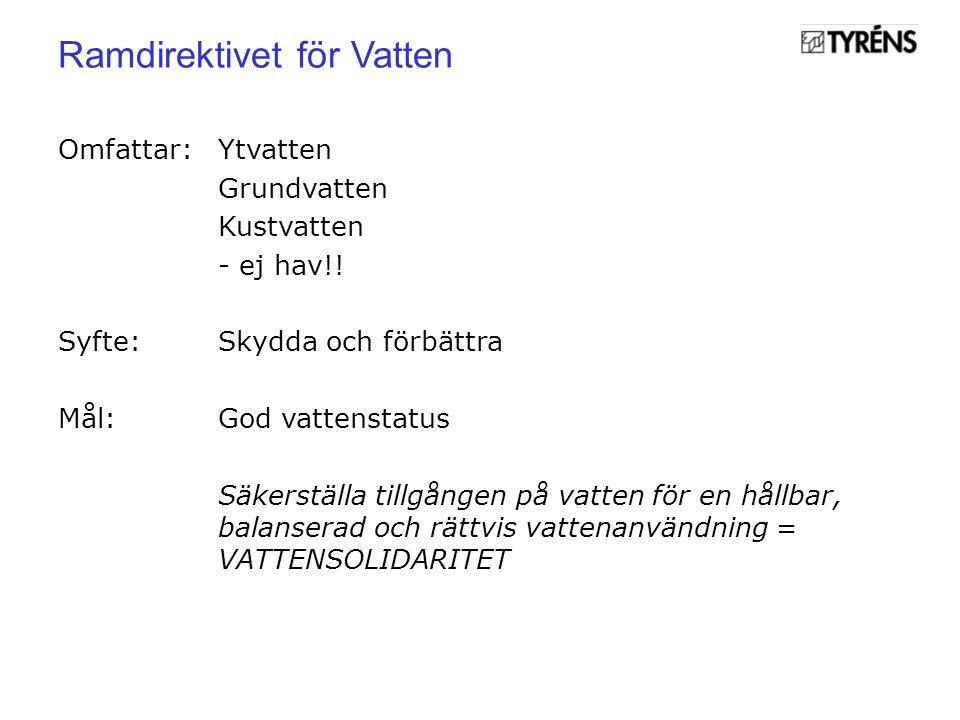 Omfattar:Ytvatten Grundvatten Kustvatten - ej hav!.