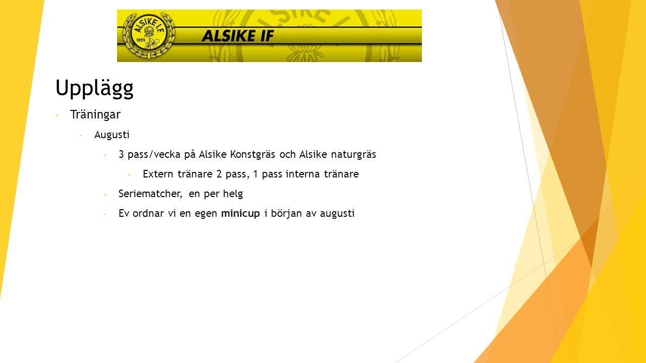 Upplägg - Träningar - Augusti - 3 pass/vecka på Alsike Konstgräs och Alsike naturgräs - Extern tränare 2 pass, 1 pass interna tränare - Seriematcher, en per helg - Ev ordnar vi en egen minicup i början av augusti