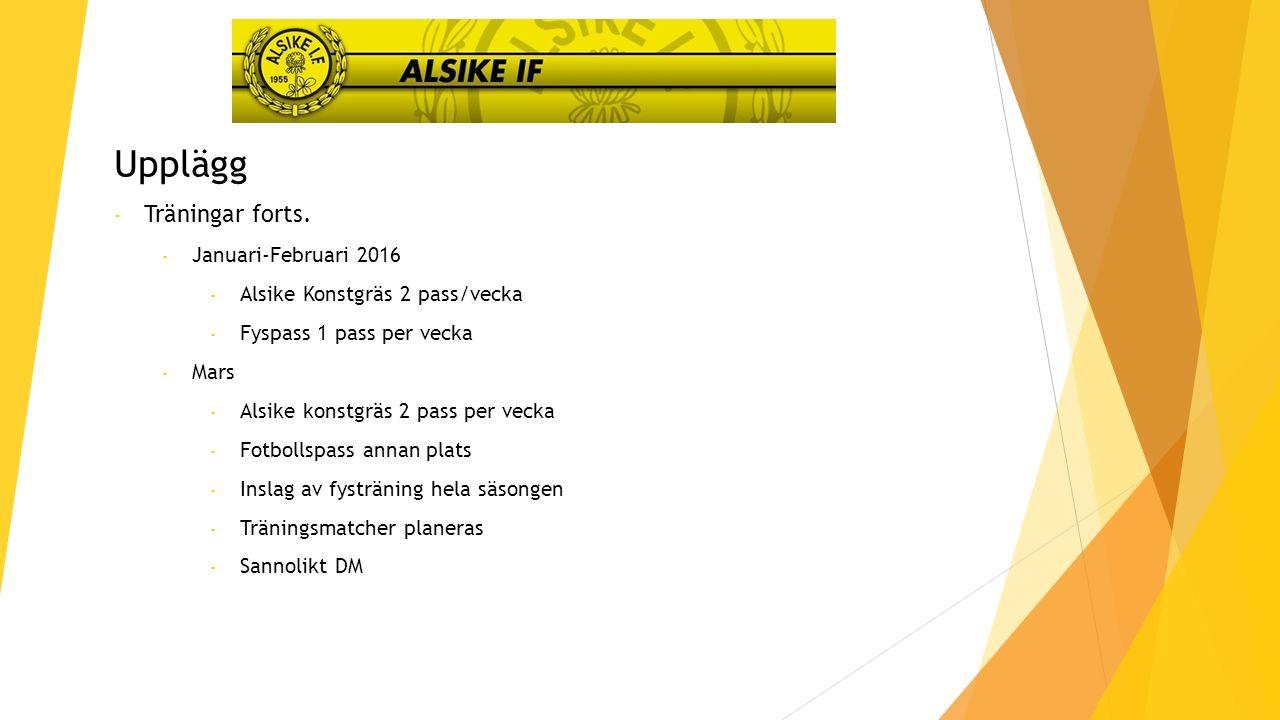 Upplägg - Träningar och matcher - April - 1-3/4 Träningsläger på Åland - 2-3 pass/vecka på Alsike Konstgräs - Extern tränare 2 pass, 1 pass interna tränare* - Träningsmatcher varje helg - GIFF-cupen 22-24/4 (hela truppen, dock krävs att man tränat tidigare) - * genom att ha externa tränare så höjer vi nivån samt skapar förutsättningar för oss andra att följa våra spelare mer noggrant.