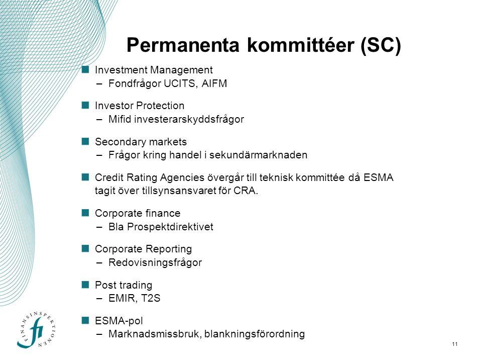 11 Permanenta kommittéer (SC) Investment Management –Fondfrågor UCITS, AIFM Investor Protection –Mifid investerarskyddsfrågor Secondary markets –Frågor kring handel i sekundärmarknaden Credit Rating Agencies övergår till teknisk kommittée då ESMA tagit över tillsynsansvaret för CRA.