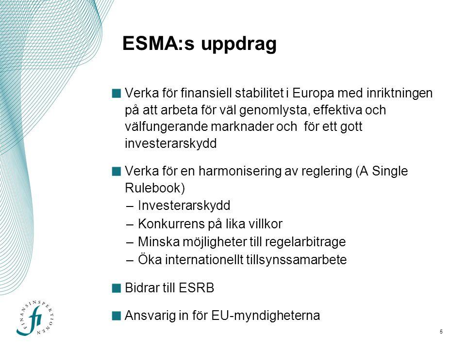 6 ESMA:s uppgifter och befogenheter Utveckla utkast till tekniska standarder som är bindande i medlemsstaterna.