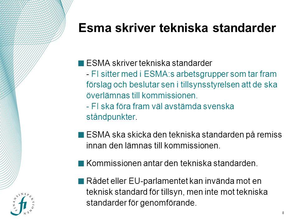 9 FI deltar i ESMA:s arbete Sverige är en del av EU och många regler som styr FI:s tillsyn är baserade på EU-regelverk därför..