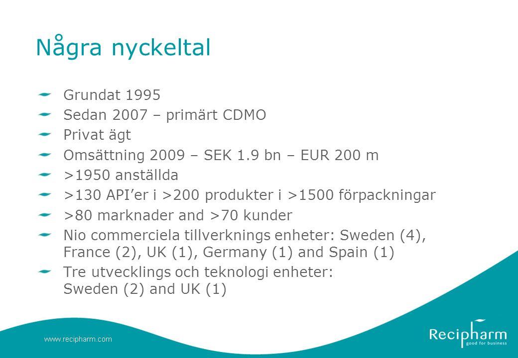 Några nyckeltal Grundat 1995 Sedan 2007 – primärt CDMO Privat ägt Omsättning 2009 – SEK 1.9 bn – EUR 200 m >1950 anställda >130 API'er i >200 produkter i >1500 förpackningar >80 marknader and >70 kunder Nio commerciela tillverknings enheter: Sweden (4), France (2), UK (1), Germany (1) and Spain (1) Tre utvecklings och teknologi enheter: Sweden (2) and UK (1)