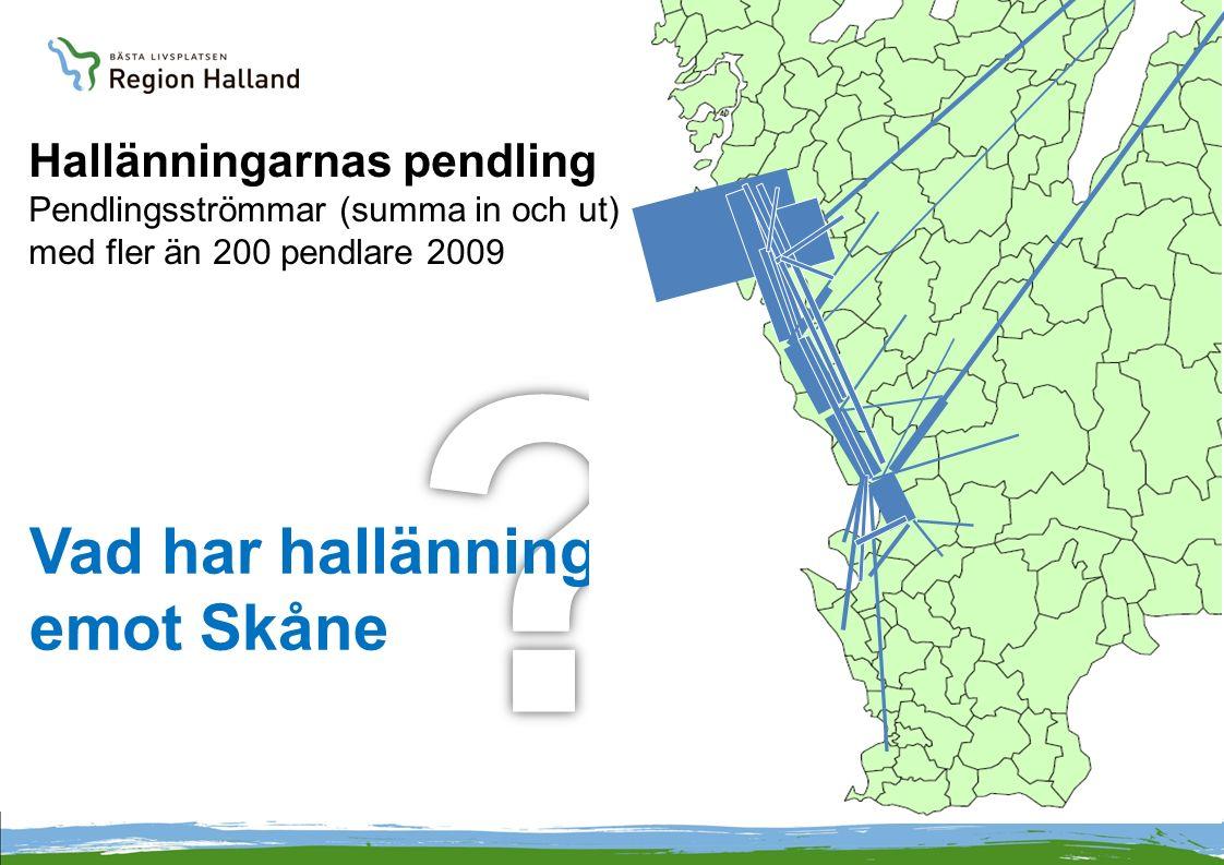 Vad har hallänningarna emot Skåne Hallänningarnas pendling Pendlingsströmmar (summa in och ut) med fler än 200 pendlare 2009