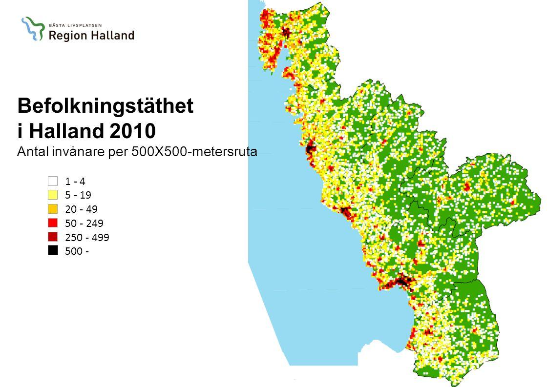 1 - 4 5 - 19 20 - 49 50 - 249 250 - 499 500 - Befolkningstäthet i Halland 2010 Antal invånare per 500X500-metersruta