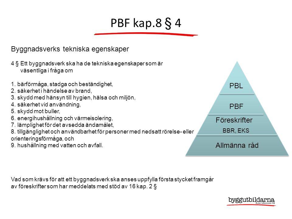 PBF kap.8 § 4 PBL PBF Föreskrifter BBR, EKS Allmänna råd Byggnadsverks tekniska egenskaper 4 § Ett byggnadsverk ska ha de tekniska egenskaper som är väsentliga i fråga om 1.