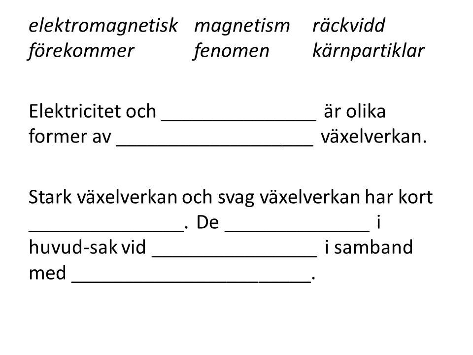 elektromagnetiskmagnetismräckvidd förekommerfenomenkärnpartiklar Elektricitet och _______________ är olika former av ___________________ växelverkan.