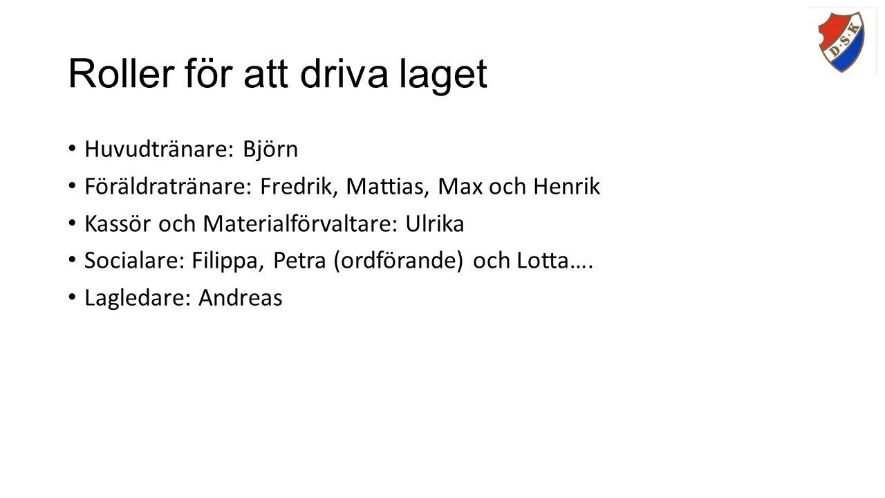 Roller för att driva laget Huvudtränare: Björn Föräldratränare: Fredrik, Mattias, Max och Henrik Kassör och Materialförvaltare: Ulrika Socialare: Filippa, Petra (ordförande) och Lotta….