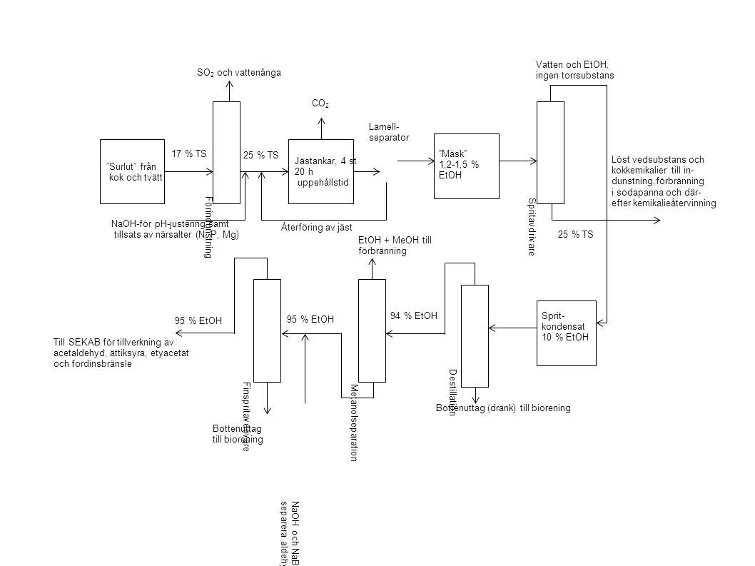 Surlut från kok och tvätt Jästankar, 4 st 20 h uppehållstid Förindunstning Sprit- kondensat 10 % EtOH Mäsk 1,2-1,5 % EtOH Destillation Metanolseparation Spritavdrivare Finspritavdrivare CO 2 SO 2 och vattenånga 17 % TS 25 % TS Återföring av jäst 25 % TS Vatten och EtOH, ingen torrsubstans Löst vedsubstans och kokkemikalier till in- dunstning,förbränning i sodapanna och där- efter kemikalieåtervinning Bottenuttag (drank) till biorening 94 % EtOH 95 % EtOH EtOH + MeOH till förbränning NaOH och NaBH 4 för att kunna separera aldehyder och färg 95 % EtOH NaOH-för pH-justering samt tillsats av närsalter (N, P, Mg) Bottenuttag till biorening Till SEKAB för tillverkning av acetaldehyd, ättiksyra, etyacetat och fordinsbränsle Lamell- separator