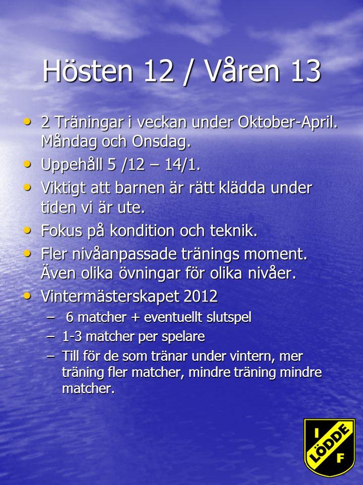 Hösten 12 / Våren 13 2 Träningar i veckan under Oktober-April.