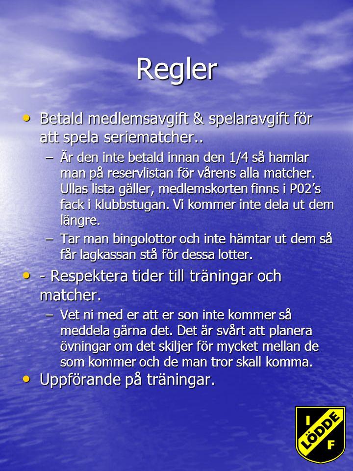 Regler Betald medlemsavgift & spelaravgift för att spela seriematcher..