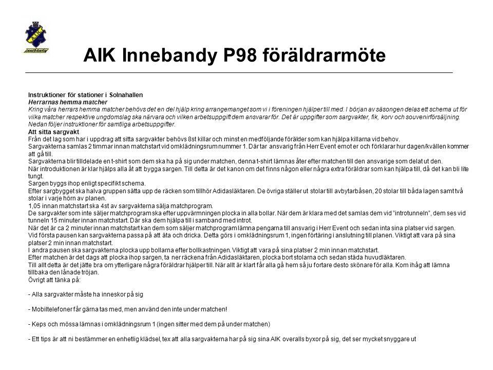 AIK Innebandy P98 föräldrarmöte Instruktioner för stationer i Solnahallen Herrarnas hemma matcher Kring våra herrars hemma matcher behövs det en del h