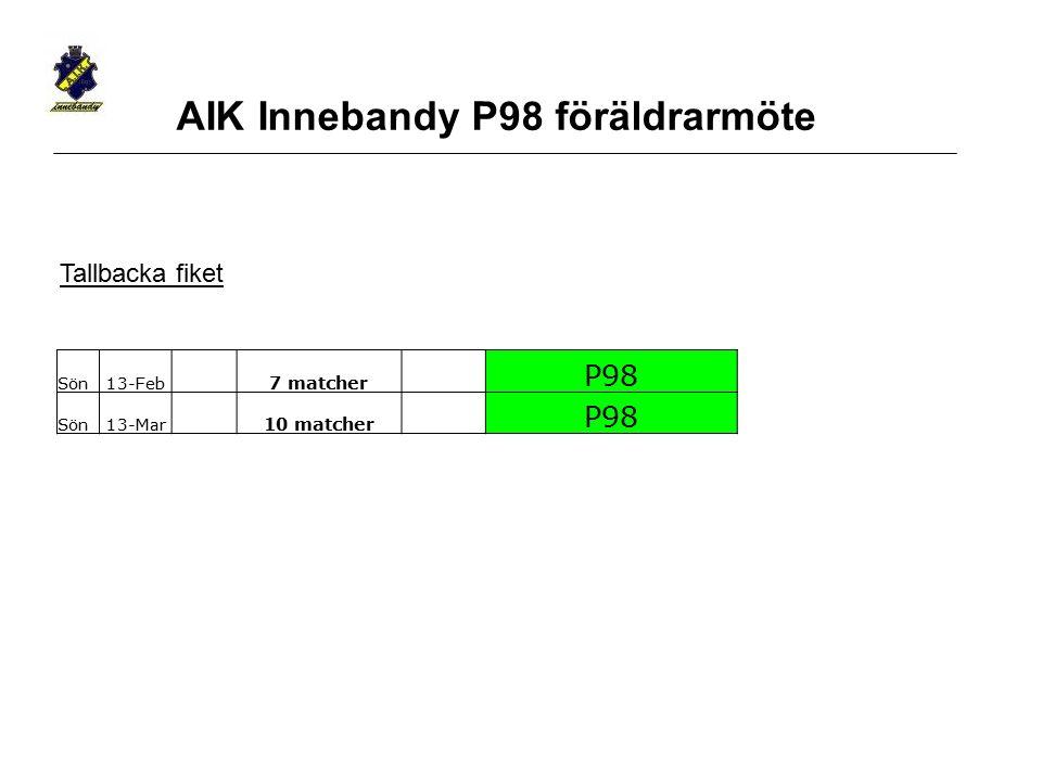 Sön13-Feb 7 matcher P98 Sön13-Mar 10 matcher P98 Tallbacka fiket