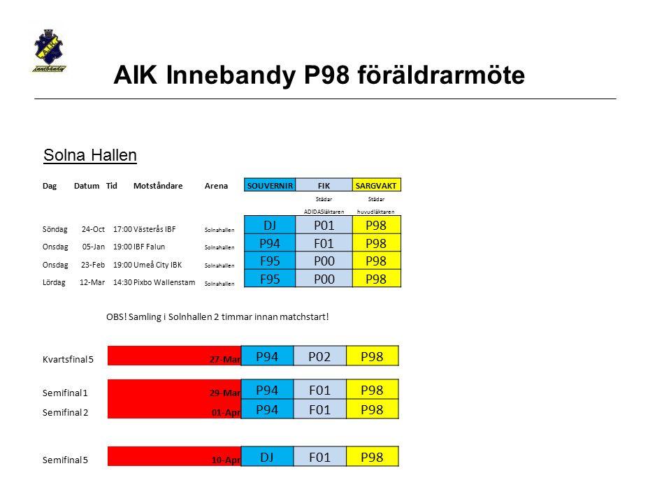 AIK Innebandy P98 föräldrarmöte Solna Hallen DagDatumTidMotståndareArenaSOUVERNIRFIKSARGVAKT Städar ADIDASläktarenhuvudläktaren Söndag24-Oct17:00Väste