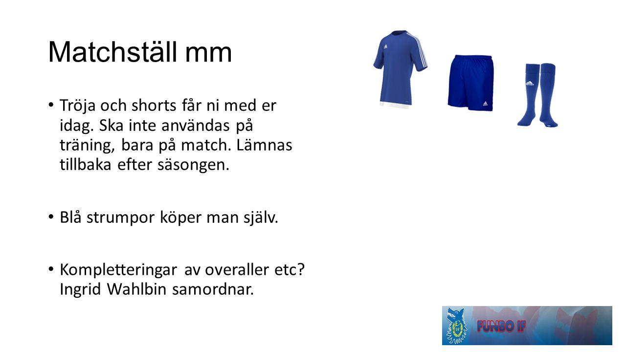 Matchställ mm Tröja och shorts får ni med er idag.