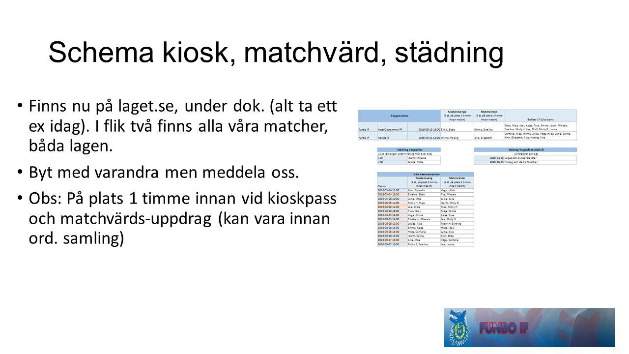 Schema kiosk, matchvärd, städning Finns nu på laget.se, under dok.