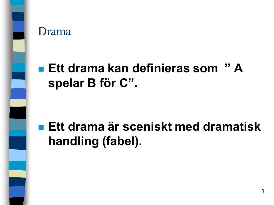 3 Drama n Ett drama kan definieras som A spelar B för C .