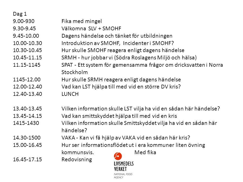 Dag 1 9.00-930Fika med mingel 9.30-9.45Välkomna SLV + SMOHF 9.45-10.00Dagens händelse och tänket för utbildningen 10.00-10.30Introduktion av SMOHF, Incidenter i SMOHF.