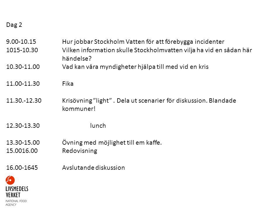 Dag 2 9.00-10.15Hur jobbar Stockholm Vatten för att förebygga incidenter 1015-10.30Vilken information skulle Stockholmvatten vilja ha vid en sådan här händelse.