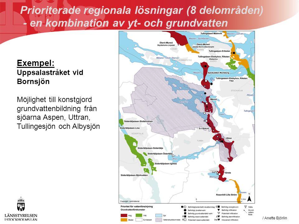 VAS-rådet den 14 februari 2008 / Anette Björlin Prioriterade regionala lösningar (8 delområden) - en kombination av yt- och grundvatten Exempel: Uppsalastråket vid Bornsjön Möjlighet till konstgjord grundvattenbildning från sjöarna Aspen, Uttran, Tullingesjön och Albysjön