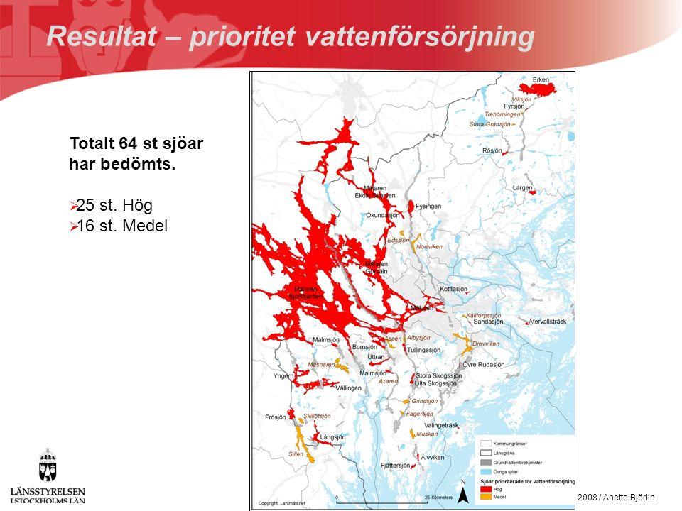 VAS-rådet den 14 februari 2008 / Anette Björlin Bedömning av sjöars prioritet för vattenförsörjning och skydd Totalt 64 st sjöar har bedömts.