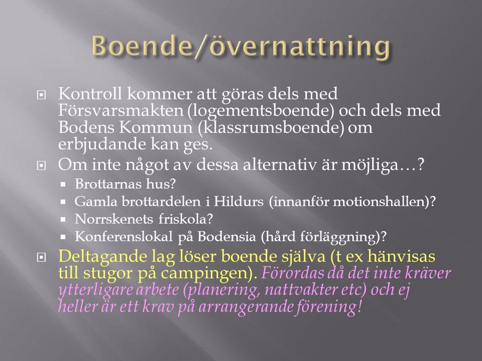  Kontroll kommer att göras dels med Försvarsmakten (logementsboende) och dels med Bodens Kommun (klassrumsboende) om erbjudande kan ges.