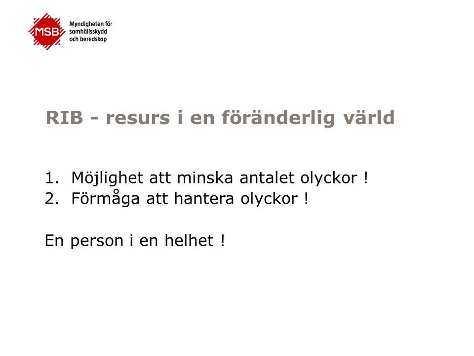 RIB - resurs i en föränderlig värld 1.Möjlighet att minska antalet olyckor .
