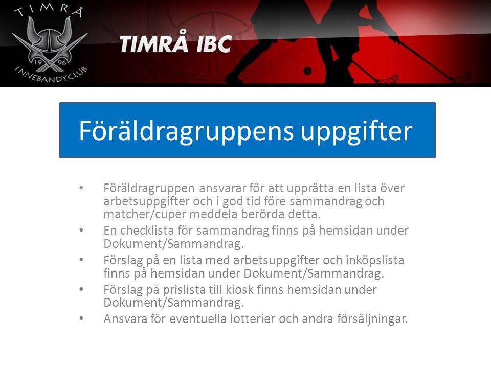 Föräldragruppens uppgifter Föräldragruppen ansvarar för att upprätta en lista över arbetsuppgifter och i god tid före sammandrag och matcher/cuper med