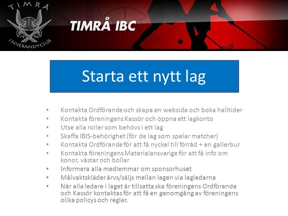 Starta ett nytt lag Kontakta Ordförande och skapa en websida och boka halltider Kontakta föreningens Kassör och öppna ett lagkonto Utse alla roller so