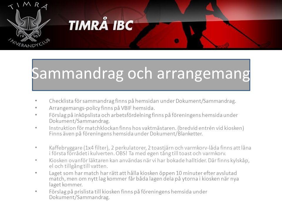 Checklista för sammandrag finns på hemsidan under Dokument/Sammandrag. Arrangemangs-policy finns på VBIF hemsida. Förslag på inköpslista och arbetsför