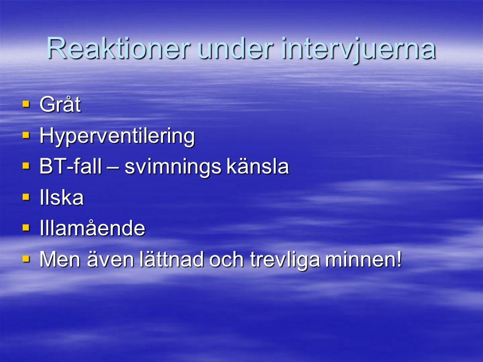 Reaktioner under intervjuerna  Gråt  Hyperventilering  BT-fall – svimnings känsla  Ilska  Illamående  Men även lättnad och trevliga minnen!