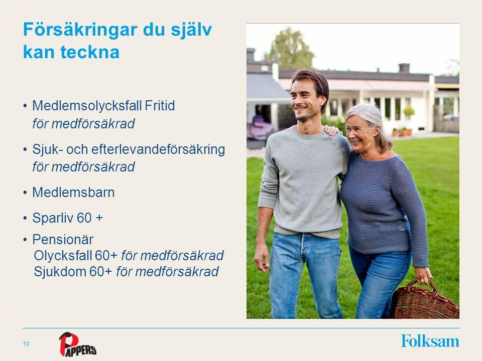 Innehållsyta Rubrikyta Försäkringar du själv kan teckna Medlemsolycksfall Fritid för medförsäkrad Sjuk- och efterlevandeförsäkring för medförsäkrad Medlemsbarn Sparliv 60 + Pensionär Olycksfall 60+ för medförsäkrad Sjukdom 60+ för medförsäkrad 10