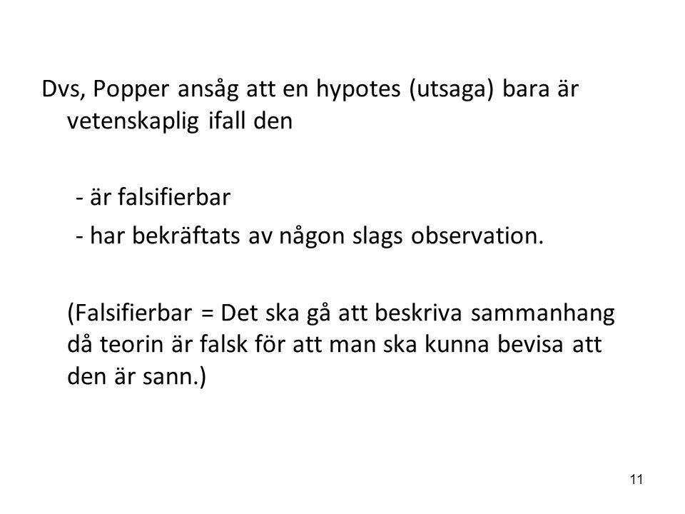 Dvs, Popper ansåg att en hypotes (utsaga) bara är vetenskaplig ifall den - är falsifierbar - har bekräftats av någon slags observation. (Falsifierbar
