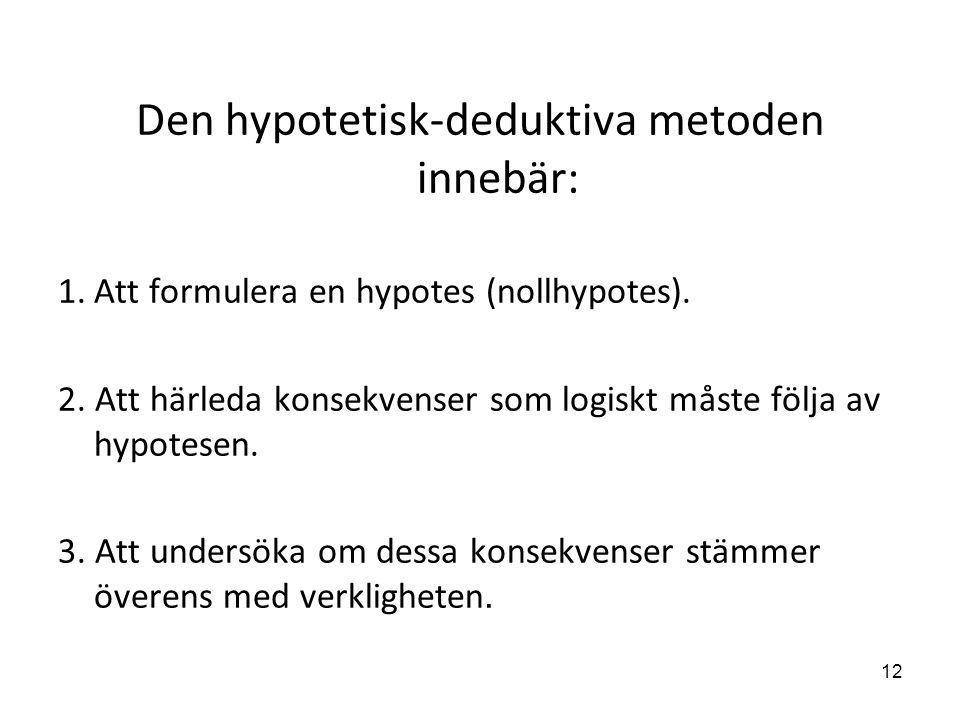 Den hypotetisk-deduktiva metoden innebär: 1.Att formulera en hypotes (nollhypotes). 2. Att härleda konsekvenser som logiskt måste följa av hypotesen.