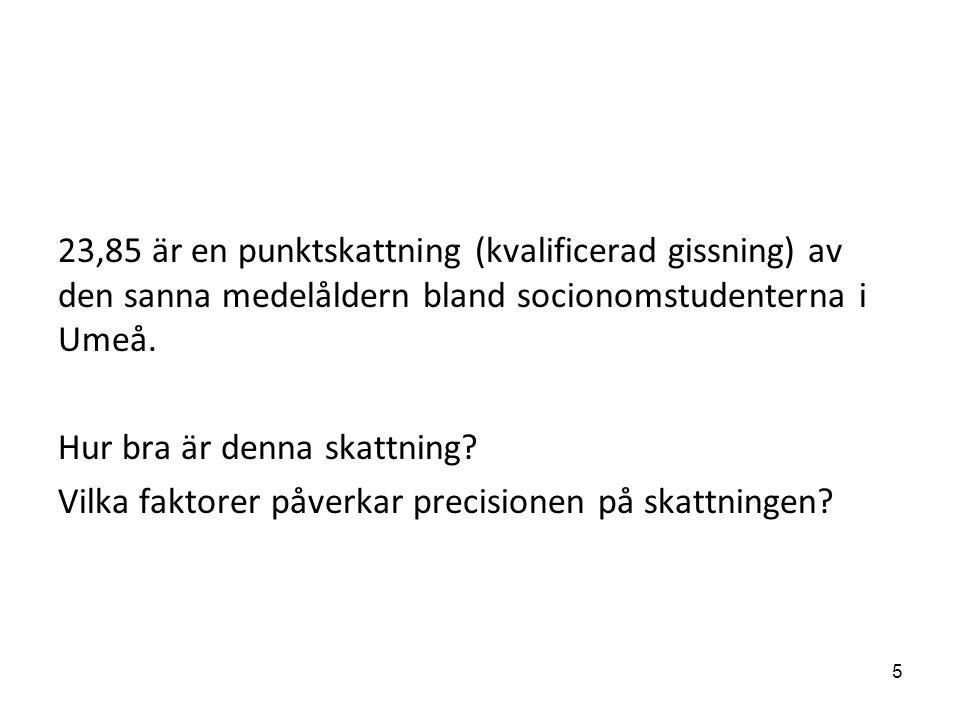 23,85 är en punktskattning (kvalificerad gissning) av den sanna medelåldern bland socionomstudenterna i Umeå. Hur bra är denna skattning? Vilka faktor