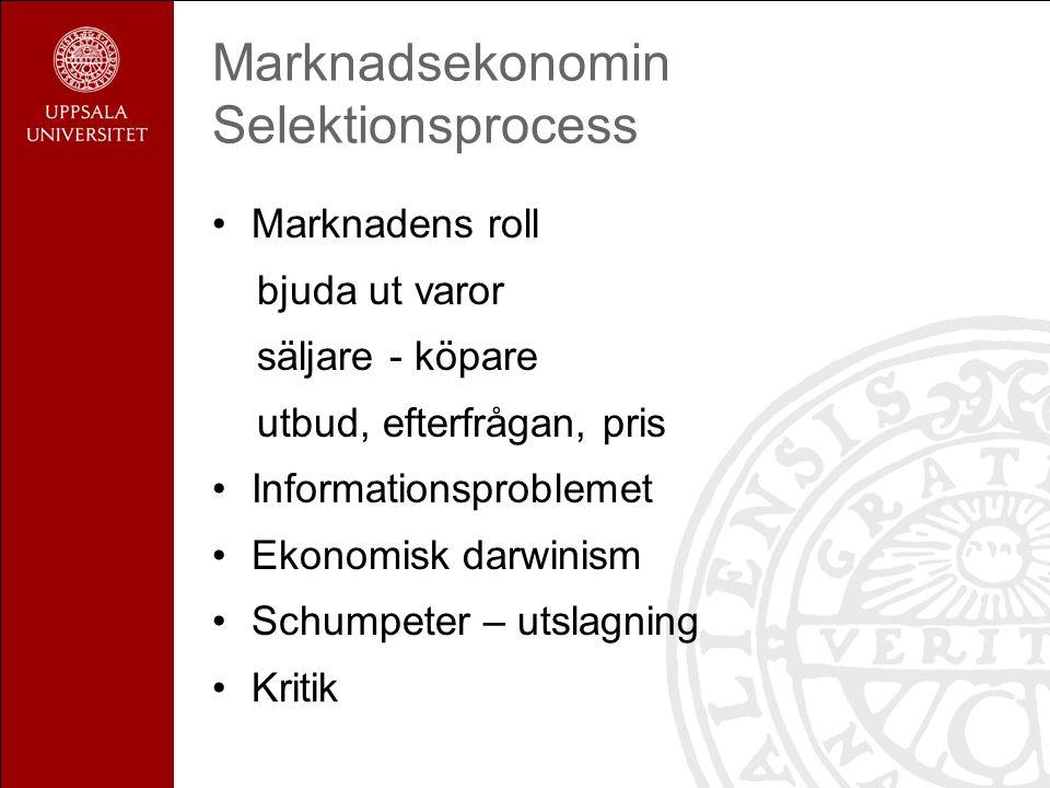 Marknadsekonomin Selektionsprocess Marknadens roll bjuda ut varor säljare - köpare utbud, efterfrågan, pris Informationsproblemet Ekonomisk darwinism Schumpeter – utslagning Kritik