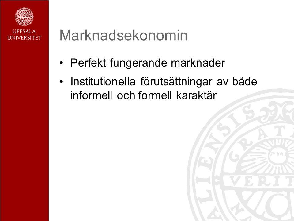 Marknadsekonomin Perfekt fungerande marknader Institutionella förutsättningar av både informell och formell karaktär