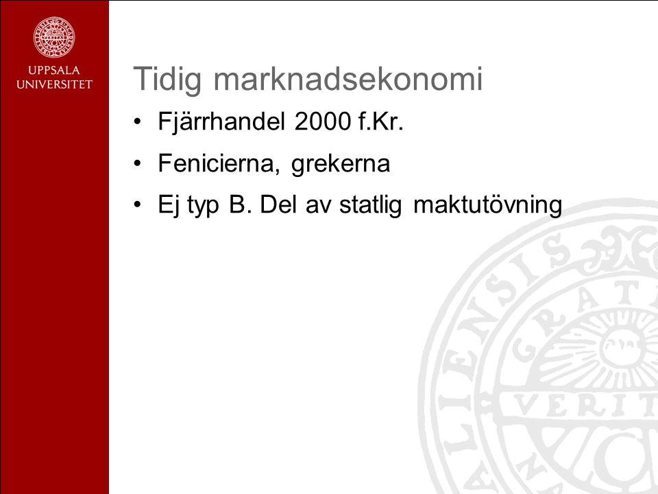 Tidig marknadsekonomi Fjärrhandel 2000 f.Kr. Fenicierna, grekerna Ej typ B.